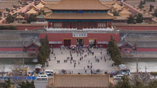 vídeos de stock e filmes b-roll de a view of forbidden city from jingshan park - vala