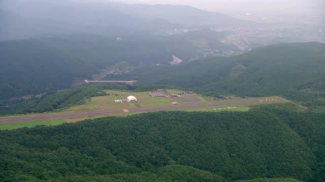 WS AERIAL View of forest area, landing field / Fukashima, Tohoku, Japan