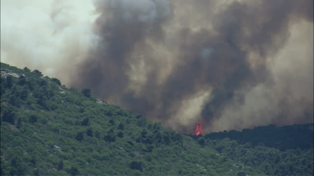 ws view of forest fire over mountain / athens, attika, greece - greece stock videos & royalty-free footage