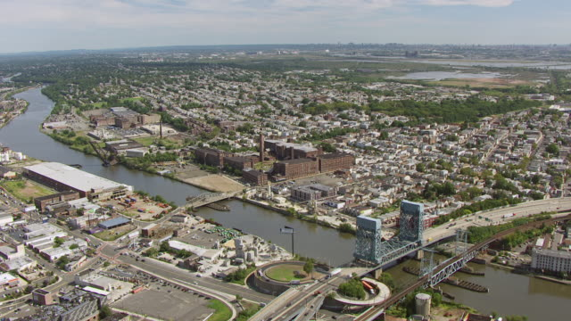 WS AERIAL View of former Clark thread company / Newark, New Jersey, United States