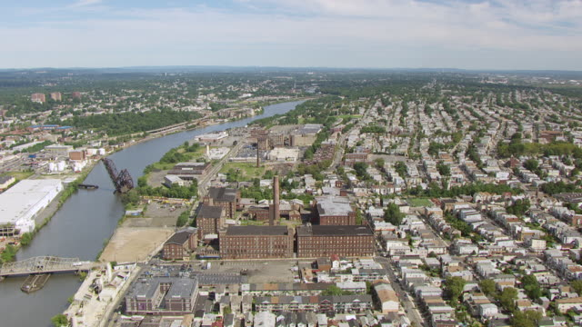 WS AERIAL PAN View of former Clark thread company / Newark, New Jersey, United States