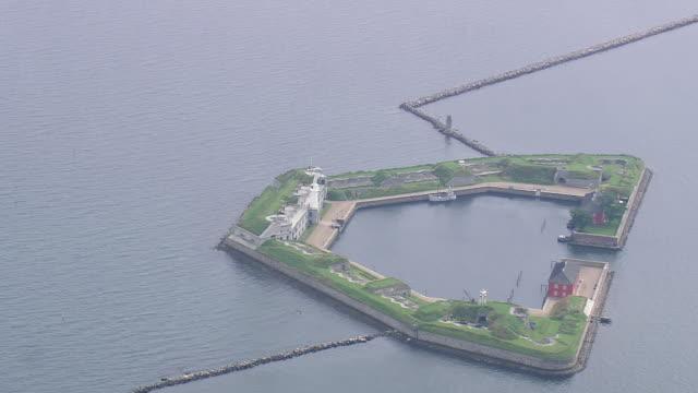 ws aerial view of fort at harbor entrance / copenhagen, denmark - oresund region stock videos & royalty-free footage
