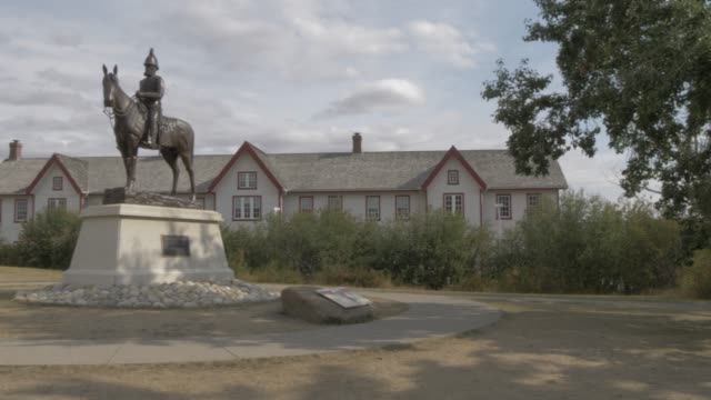 view of fort calgary, historic wooden fort and calgary???s first building, calgary, alberta, canada, north america - tree fort stock videos & royalty-free footage