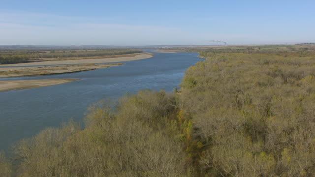 WS TU AERIAL POV View of Fort Mandan at Missouri river / Washburn, North Dakota, United States