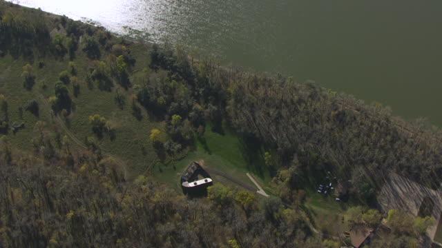 WS AERIAL POV View of Fort Mandan at Missouri river / Washburn, North Dakota, United States