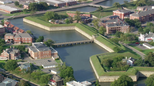 ws aerial zi zo ds view of fort monroe / virginia, united states - tree fort stock videos & royalty-free footage
