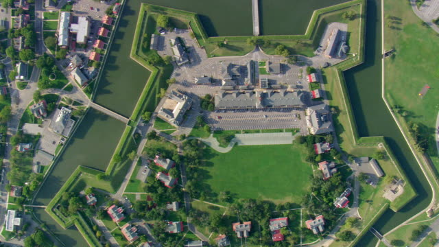 ws aerial ds view of fort monroe / virginia, united states - fort stock videos & royalty-free footage