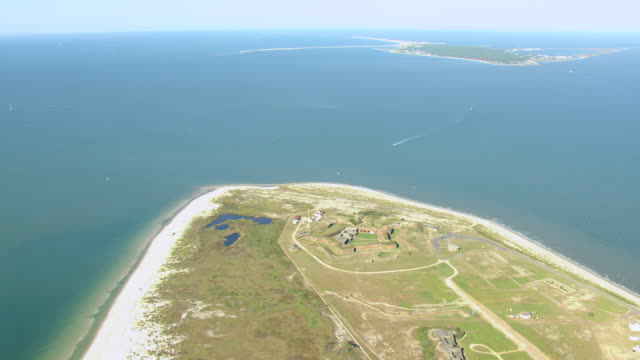 WS AERIAL View of Fort Morgan and surrounding Mobile Bay / Alabama, United States