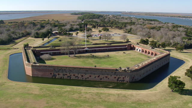 WS AERIAL View of Fort Pulasky National Monument / Georgia, United States