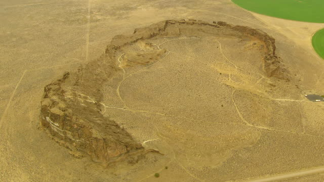 WS AERIAL View of Fort Rock volcanic rock formation / Oregon, United States