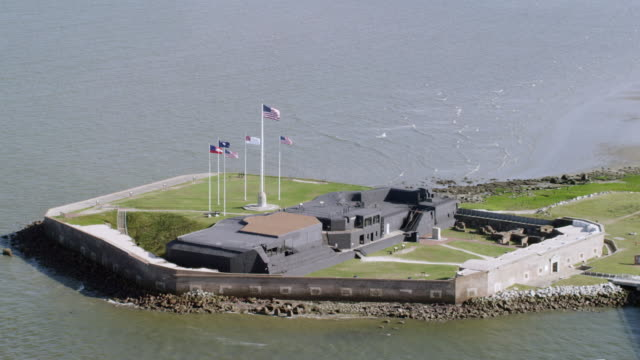 ms zo aerial pov view of fort sumter / charleston, south carolina, united states - fortress stock videos & royalty-free footage