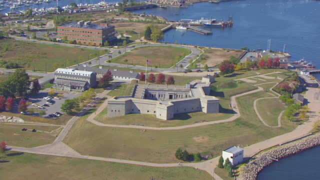 WS ZI AERIAL POV View of Fort Trumbull / New London, Connecticut, United States