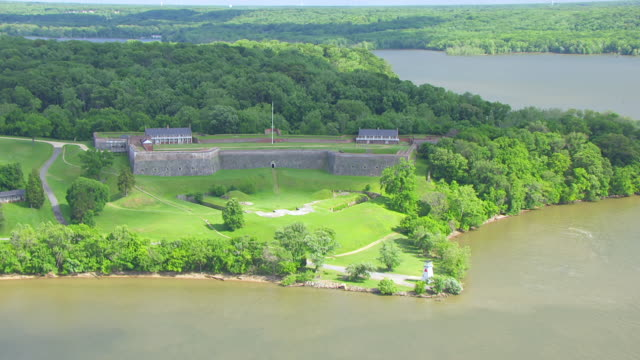 ws aerial pov view of fort washington and river/ prince georges county, maryland, united states - prince stock videos and b-roll footage