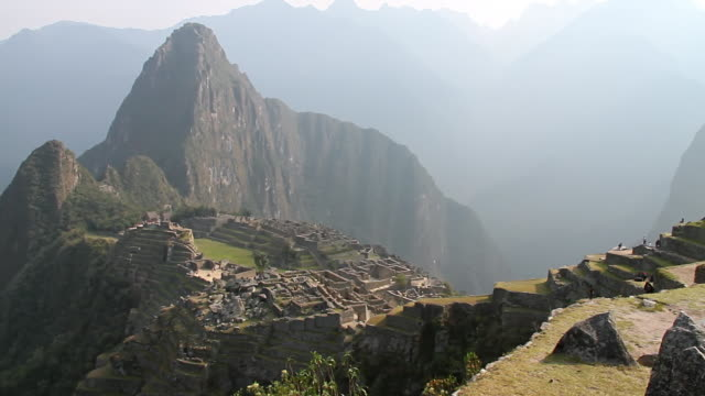 WS PAN View of Fort with mountains / Machu Picchu, Peru
