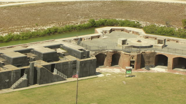 MS AERIAL DS View of fort with outlying moat at Fort Zachary / Key West, Florida, United StatesTaylor