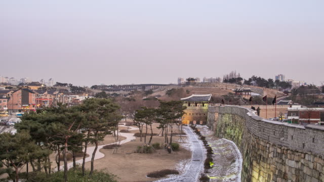 view of fortified wall at suwon hwaseong fortress (unesco world heritage site) - suwon stock videos and b-roll footage