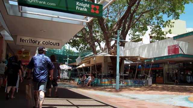 ws pan view of fountain in city mall at smith street / darwin, northern territory, australia - outdoor poster stock videos & royalty-free footage