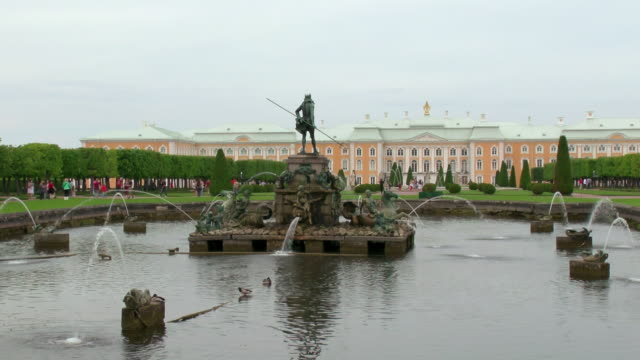 WS View of fountain in front of Peterhof palace Summer Garden / St. Petersburg, Russia