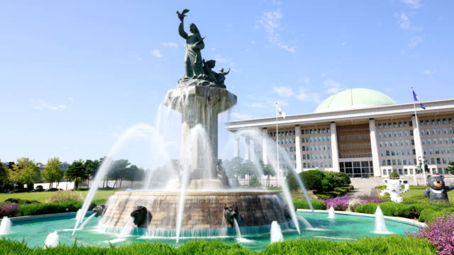 View of Fountain with Statue of Peace and Prosperity in National Assembly Building