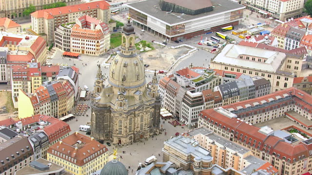 ws aerial ts view of frauenkirche church in city / dresden, saxony, germany - dresden germany stock videos & royalty-free footage