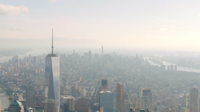 MS AERIAL View of freedom tower looking north in Manhattan / New York City