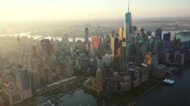 ws aerial pov view of freedom tower with cityscape / new york city, new york state, united states - world trade centre manhattan stock videos and b-roll footage