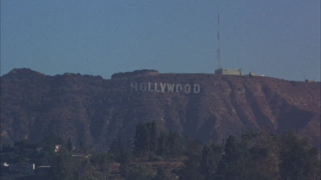 WS View of freeway to establish HOLLYWOODsigns