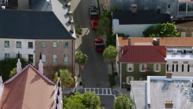 MS AERIAL POV View of French Huguenot Church / Charleston, South Carolina, United States