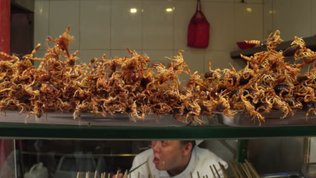 A view of fried scorpion in famous Wangfujing Snack Street on May 4 2017 in Beijing China Wangfujing is a main business street for tourism next to...