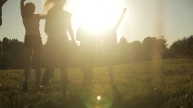 ws pan view of friends running in field at sunset / langley, british columbia, canada - braccio umano video stock e b–roll
