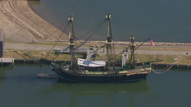 WS AERIAL POV View of Friendship of Salem, a replica of a cargo vessel built in 1797 at Salem Maritime National Historic Site / Salem, Massachusetts, United States
