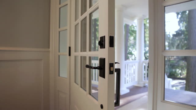 MS PAN View of front door of stylish home / Lake Oswego, Oregon, United States