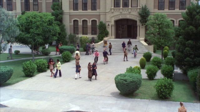 MS View of front entrance to college building