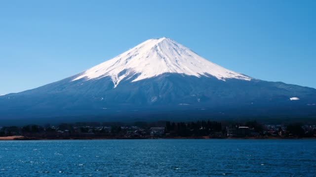 view of fuji mountain from kawaguchiko lake - mt fuji stock videos & royalty-free footage