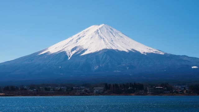 view of fuji mountain from kawaguchiko lake ; zoom in - mt fuji stock videos & royalty-free footage