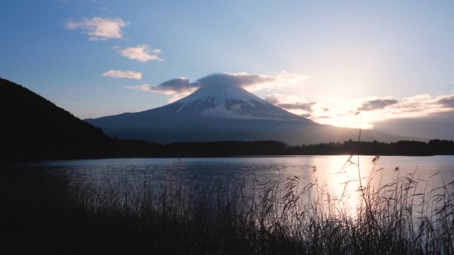 view of fuji mountain from tanuki lake in shizuoka prefecture,japan - shizuoka prefecture stock videos and b-roll footage
