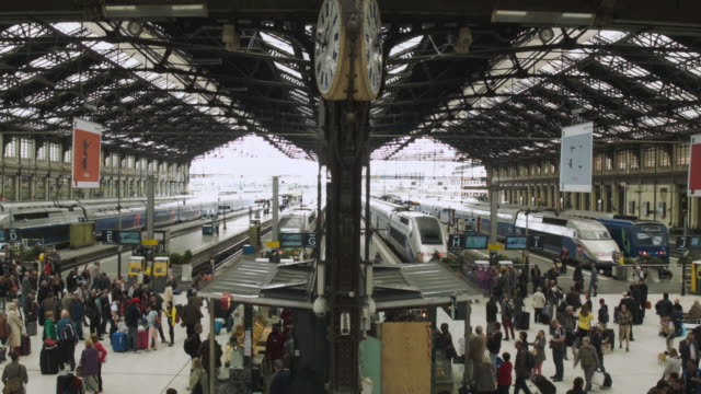 WS HA View of Full gare de Lyon train station / Paris, France