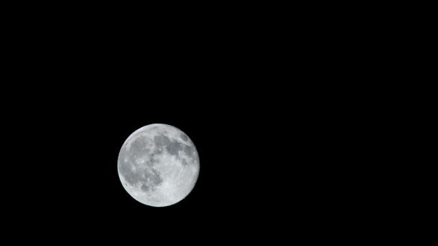 view of full moon rising up at night - weltraum und astronomie stock-videos und b-roll-filmmaterial