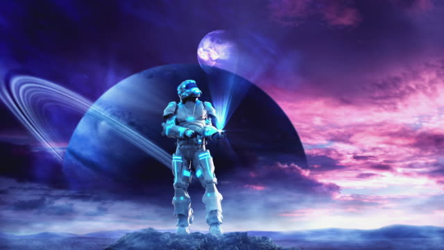 WS TD View of Futuristic astronaut surveying another planet with hologram technology / Melbourne, Victoria, Australia