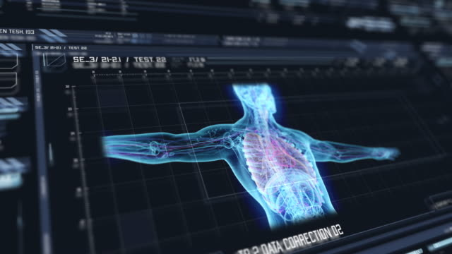 vídeos de stock e filmes b-roll de view of futuristic interface with hud with holographic upper part of human body - bioquímica
