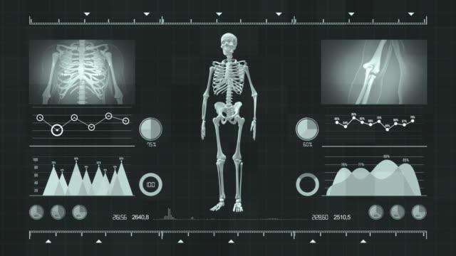 vídeos y material grabado en eventos de stock de vista de la interfaz futurista con hud con parte superior holográfica del cuerpo humano, anatomía humana en interfaz médica futurista. - interfaz gráfica de usuario