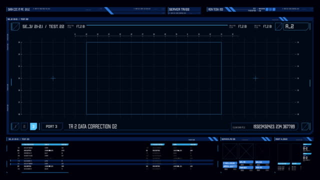 view of futuristic interface/digital screen with hud and infographic elements. - dashboard stock videos & royalty-free footage