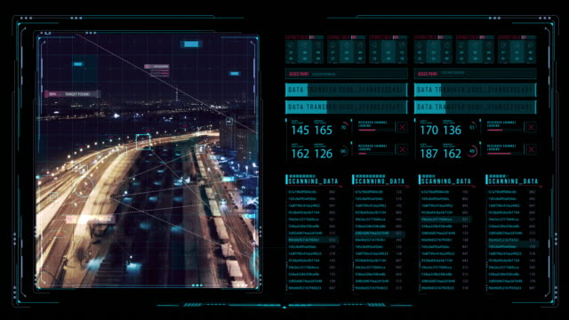 vy över futuristisk interface/digital skärm. detaljerad abstrakt bakgrund med blinkande och växla indikatorer och status visar arbetet i polisens command center - bilperspektiv bildbanksvideor och videomaterial från bakom kulisserna