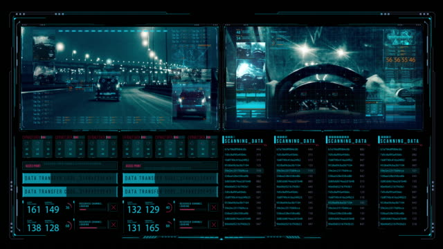 vídeos de stock e filmes b-roll de view of futuristic interface/digital screen.detailed abstract background with blinking and switching indicators and statuses showing work of the police command center - equipamento fotográfico