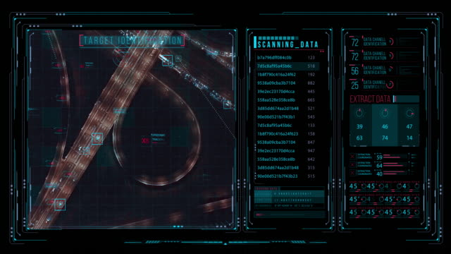 vídeos de stock, filmes e b-roll de ver a interface futurista/ tela digital. fundo abstrato detalhado com indicadores e status de piscar e de comutação que mostram o trabalho do centro de comando das polícias - alvo militar