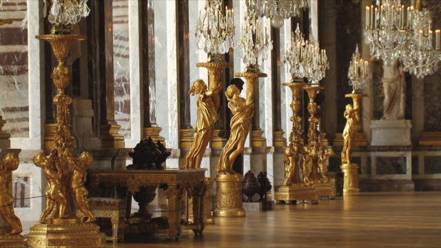 ms view of galerie des glaces / versailles, ile de france, france - palace video stock e b–roll