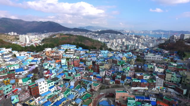 view of gamcheon culture village in busan, south korea - multi coloured stock videos & royalty-free footage