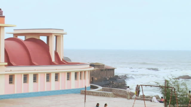 ws zo view of gandhi mandapam temple at seashore / kanyakumari, tamil nadu, india - temple building stock videos & royalty-free footage
