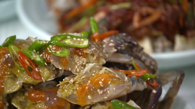 view of ganjang gejang(soy sauce marinated raw crab) - marinated stock videos and b-roll footage