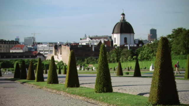 ws view of gardens at belvedere palace / vienna, austria - belvedere palace vienna stock videos & royalty-free footage